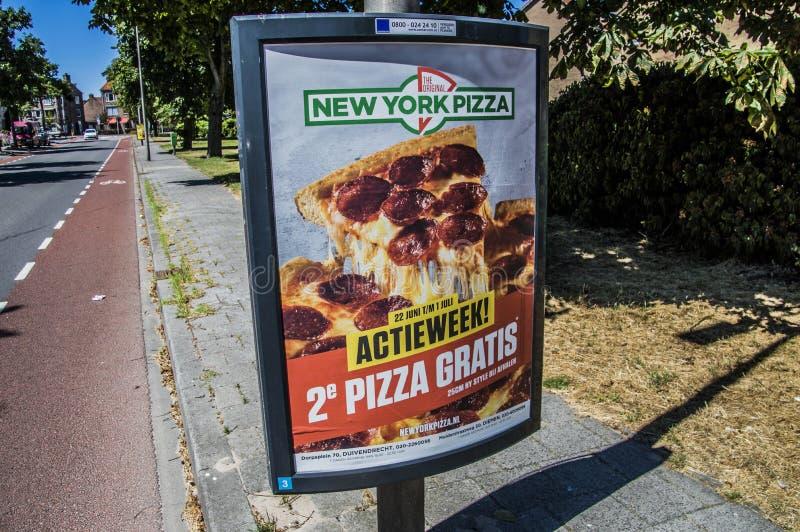 Panneau d'affichage de pizza de New York les Pays-Bas photographie stock libre de droits
