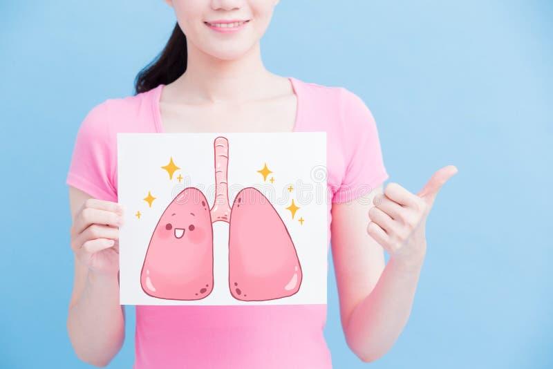 Panneau d'affichage de poumon de santé de prise de femme photographie stock