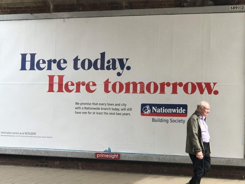 Panneau d'affichage de publicité de Nationawide à la rue de Londres photo libre de droits