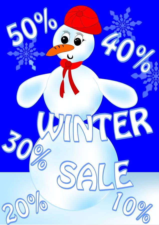 Panneau d'affichage de vente de bonhomme de neige illustration stock