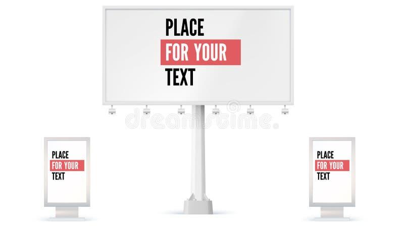 Panneau d'affichage et Lightbox, texte d'attente de panneau d'annonce pour la publicité illustration 3d d'isolement sur le fond b illustration libre de droits
