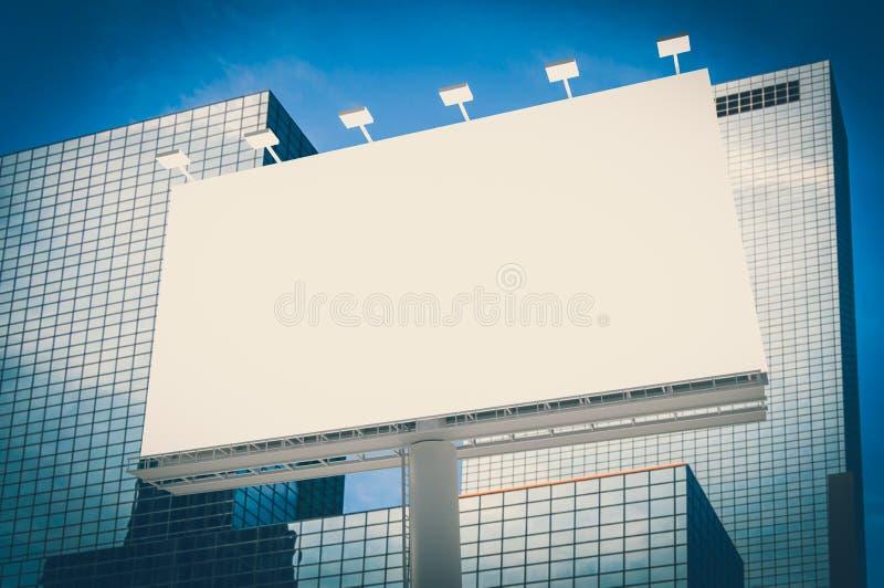 Panneau d'affichage horizontal vide à l'arrière-plan de ville illustration libre de droits