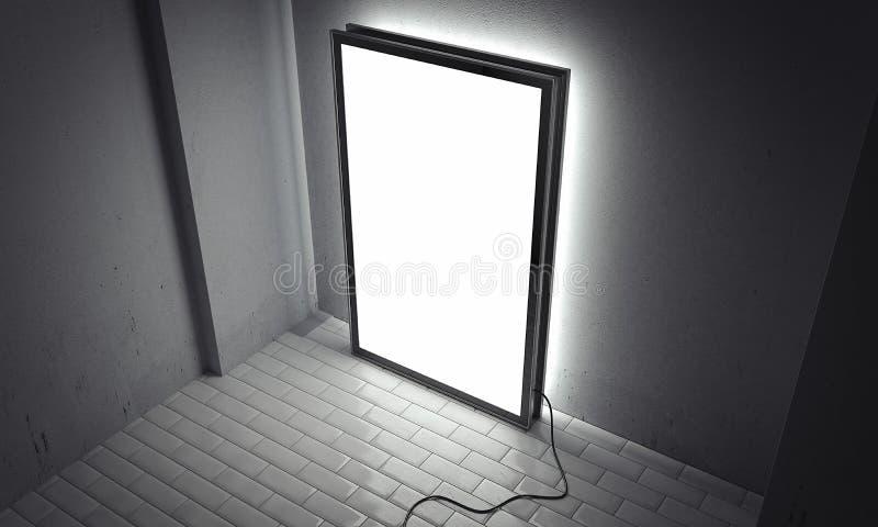 Panneau d'affichage d'intérieur lumineux vide avec le cadre noir à côté des murs gris, rendu 3d illustration stock