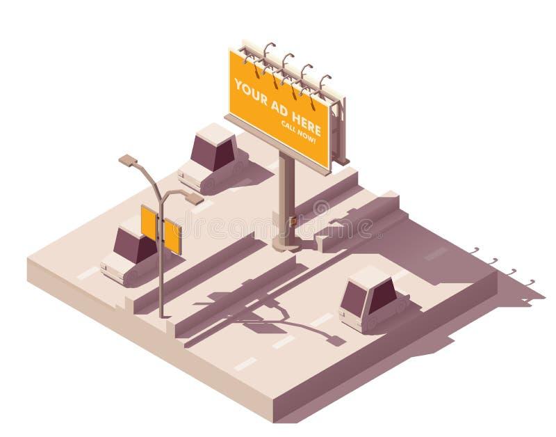Panneau d'affichage isométrique de vecteur sur la route illustration de vecteur