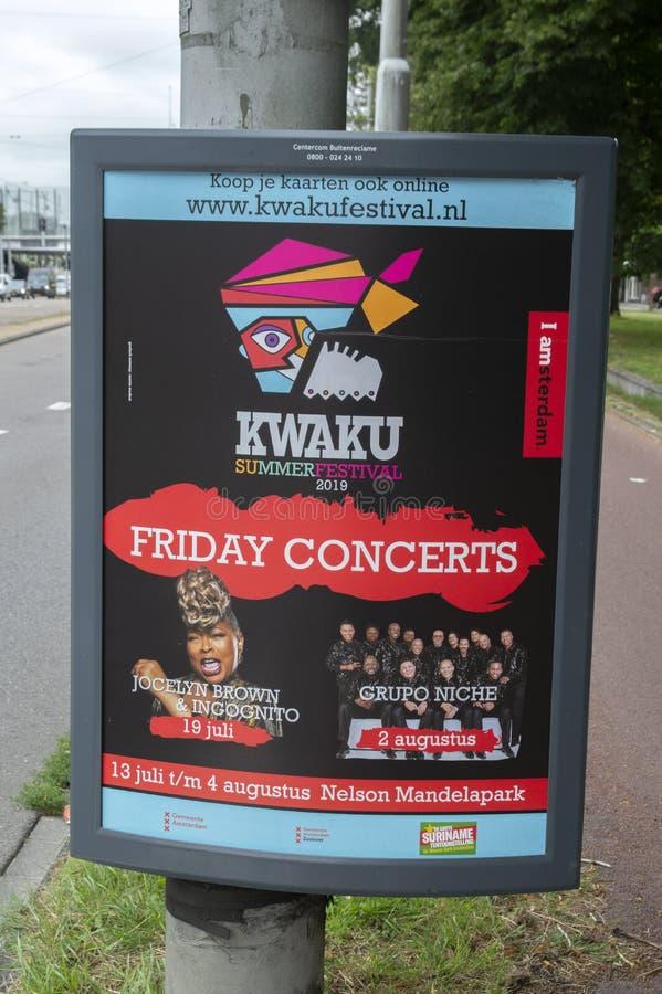 Panneau d'affichage Kwaku Festival At Amsterdam The Pays-Bas 2019 image libre de droits