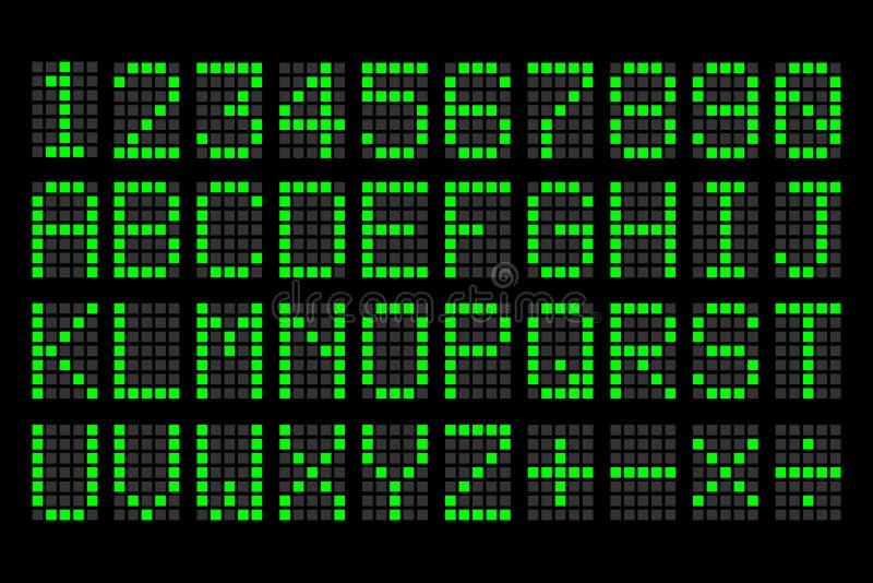 Panneau d'affichage vert de lettres et de nombres de Digital illustration de vecteur