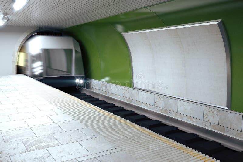 Panneau d'affichage vide sur le mur vert de souterrain et le train mooving photo stock