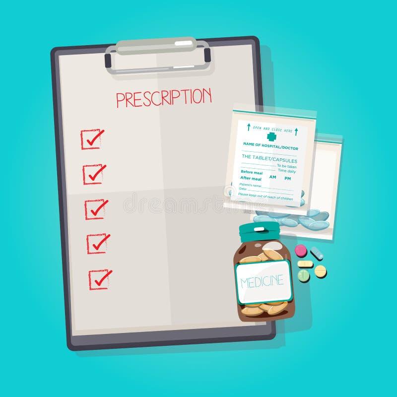 Panneau d'agrafe avec des pilules de bouteille et de drogue de médecine dans un sachet en plastique illustration de vecteur