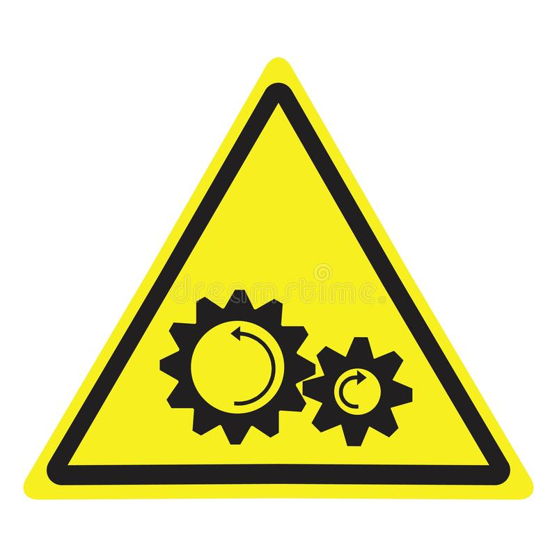 Panneau d'avertissement avec le symbole de risque de pièces en rotation illustration de vecteur
