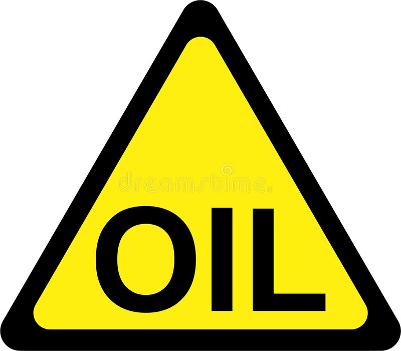 Panneau d'avertissement avec le texte d'huile illustration de vecteur