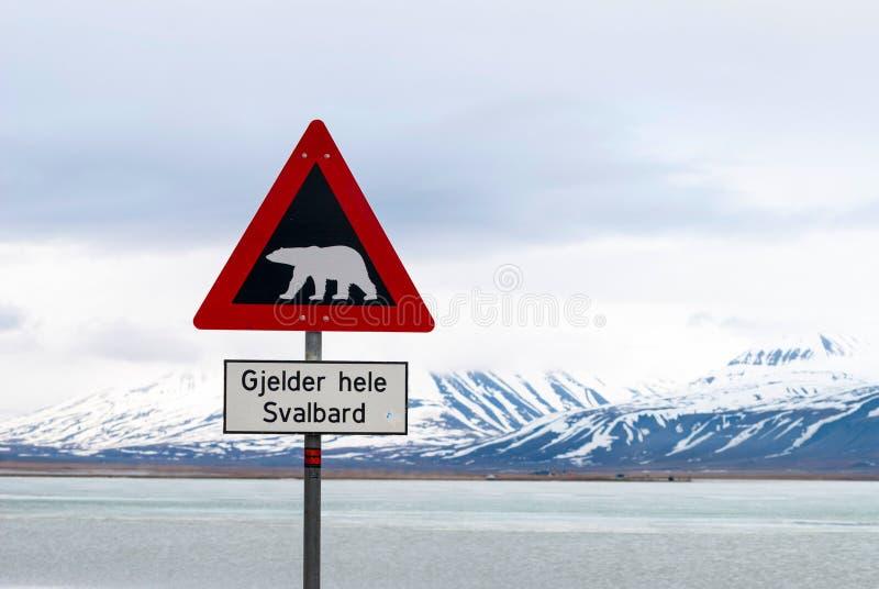 Panneau d'avertissement d'ours blancs photographie stock libre de droits