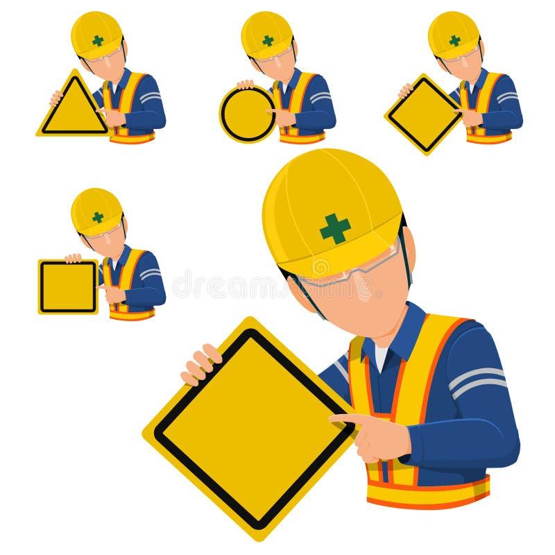 Panneau d'avertissement de blanc de prise d'ingénieur illustration libre de droits