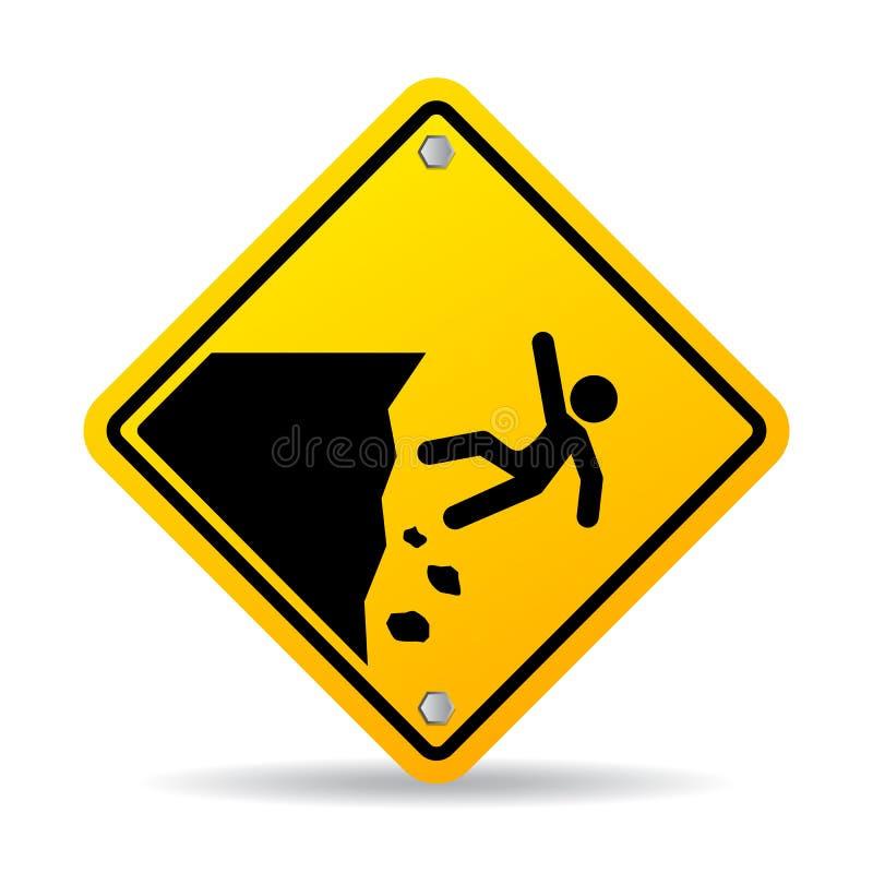 Panneau d'avertissement de bord de falaise de danger illustration de vecteur