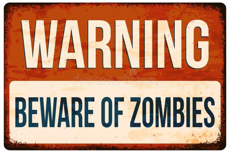 Panneau d'avertissement de Halloween Prenez garde des zombis Dirigez l'illustration, EPS10 illustration de vecteur
