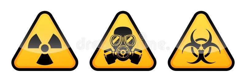 Panneau d'avertissement de rayonnement, panneau d'avertissement de biohazard, panneau d'avertissement de masque de gaz illustration stock