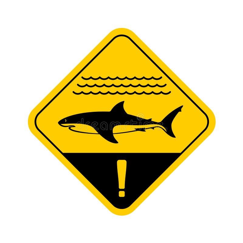 Panneau d'avertissement de requin avec des vagues de mer illustration libre de droits