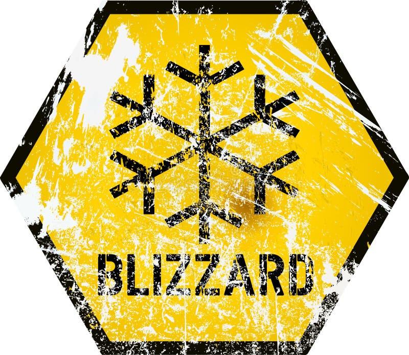 Panneau d'avertissement de tempête de neige, vecteur illustration stock