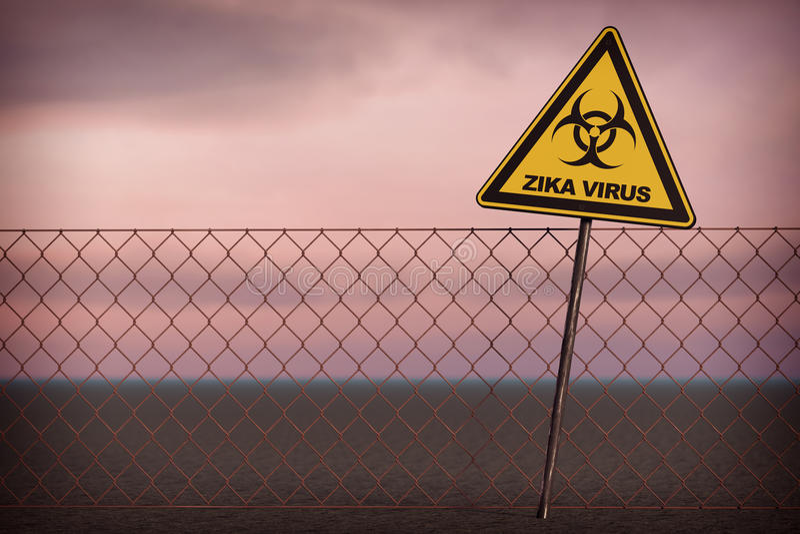 Panneau d'avertissement de virus de Zika rendu 3d illustration libre de droits