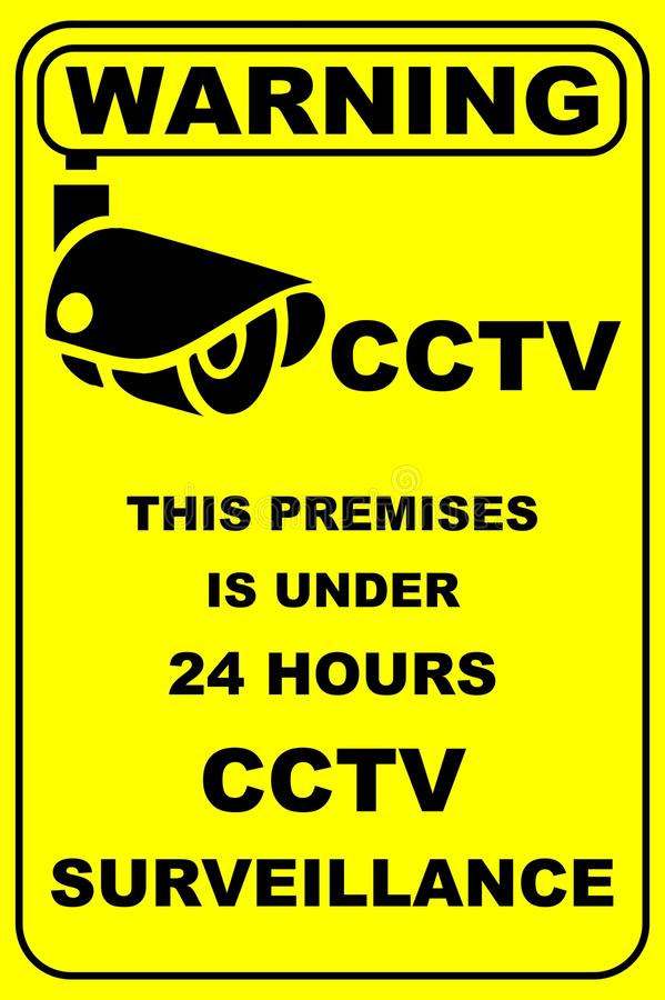 Panneau d'avertissement en fonction de télévision en circuit fermé illustration stock