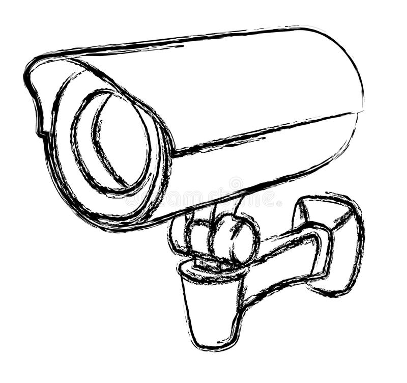 Panneau d'avertissement noir et blanc de la vidéo surveillance (télévision en circuit fermé) illustration stock