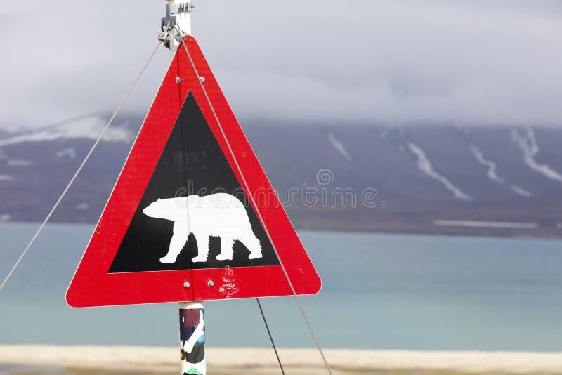 Panneau d'avertissement pour les ours blancs chez le Svalbard photo stock