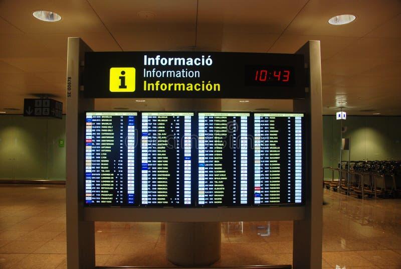 Panneau d'horaire d'aéroport photo libre de droits