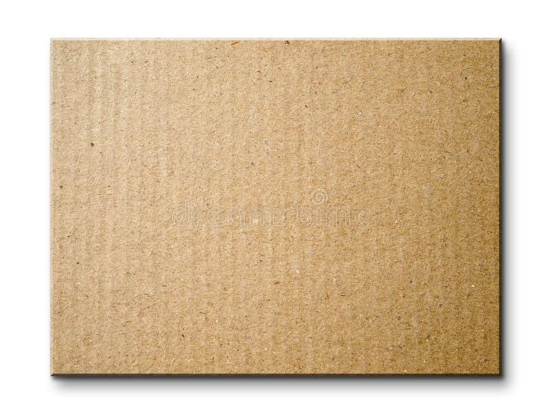 Panneau de carte de papier de Brown d'isolement photographie stock