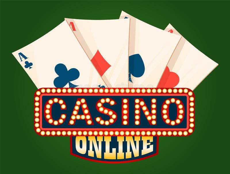 Panneau de casino et plate-forme brillants de vecteur de cartes d'Ace illustration stock