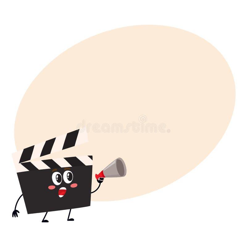 Panneau de clapet drôle de production de cinéma, caractère de bardeau avec le visage humain illustration stock