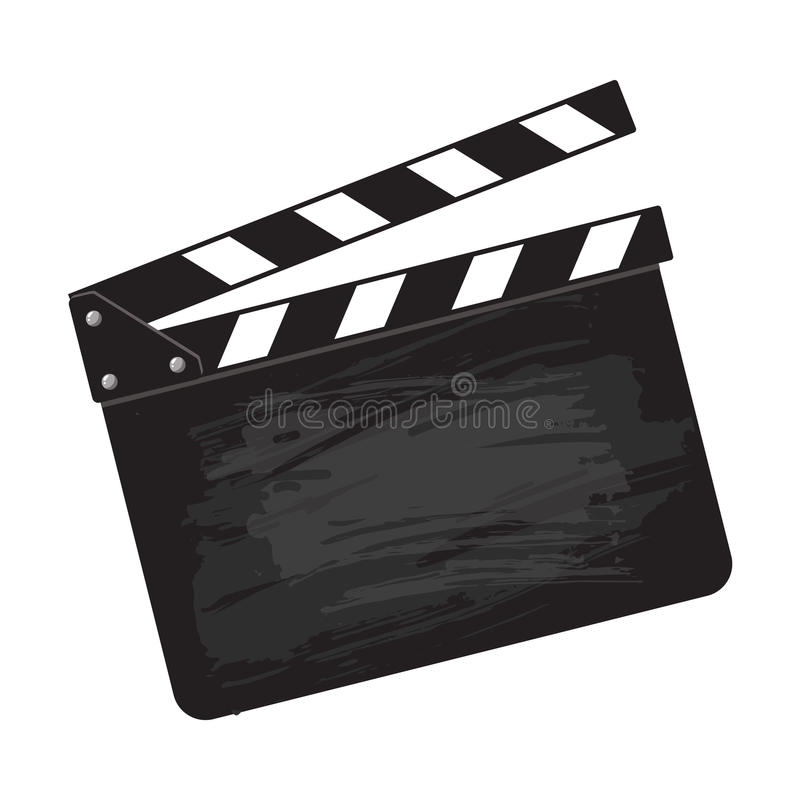 Panneau de clapet vide de noir de production de cinéma illustration stock