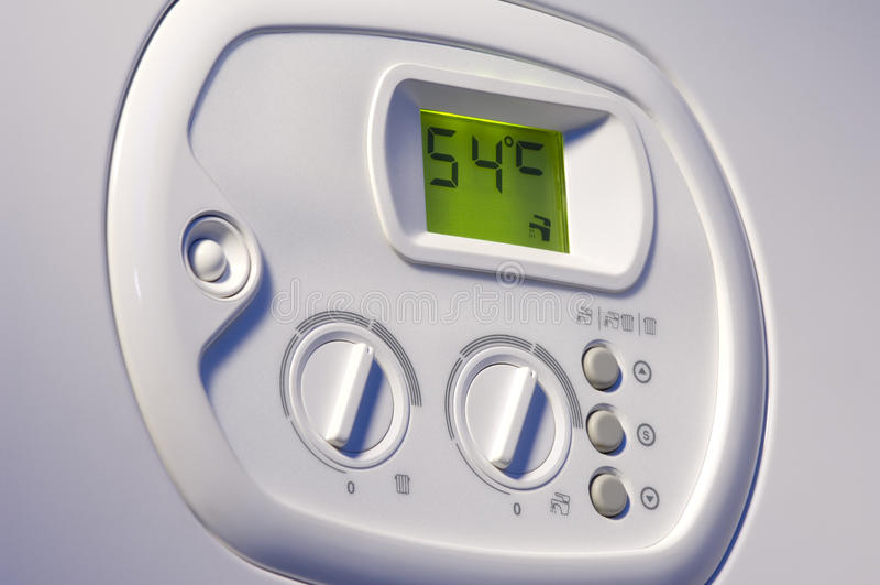 Panneau de commande de chaudière de chauffage image stock