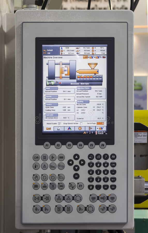 Panneau de commande de machine en plastique d'injection photos libres de droits