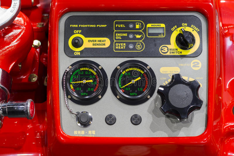 Panneau de commande de pompe à incendie de l'eau ; image libre de droits