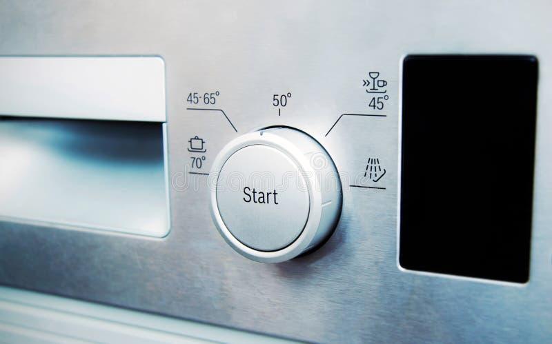 Panneau de commande du lave-vaisselle en acier photos libres de droits