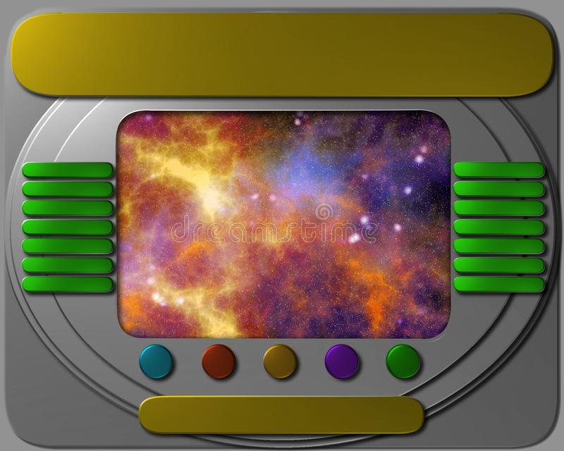 Panneau de commande de vaisseau spatial avec la vue illustration libre de droits