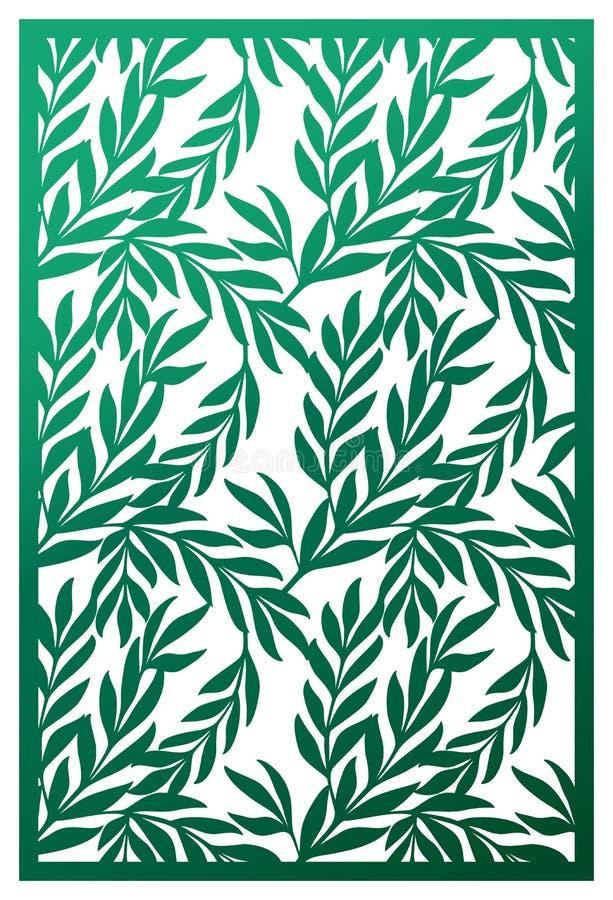 Panneau de coupe de laser de vecteur Modèle abstrait avec des branches des feuilles illustration stock