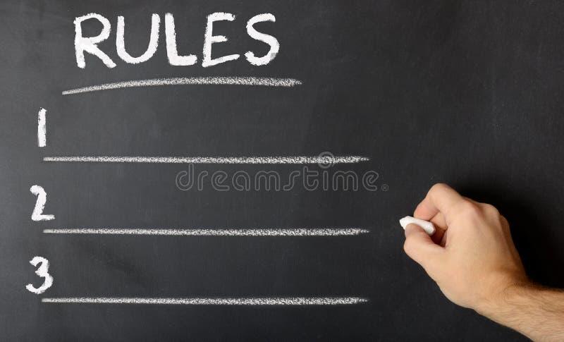 Panneau de craie avec des règles photos libres de droits