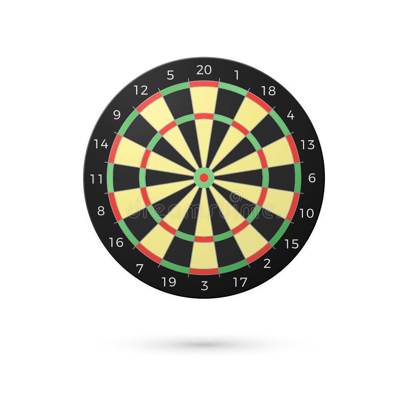 Panneau de dards classique avec vingt secteurs Panneaux de dard réalistes Concept de jeu Illustration de vecteur d'isolement sur  illustration de vecteur