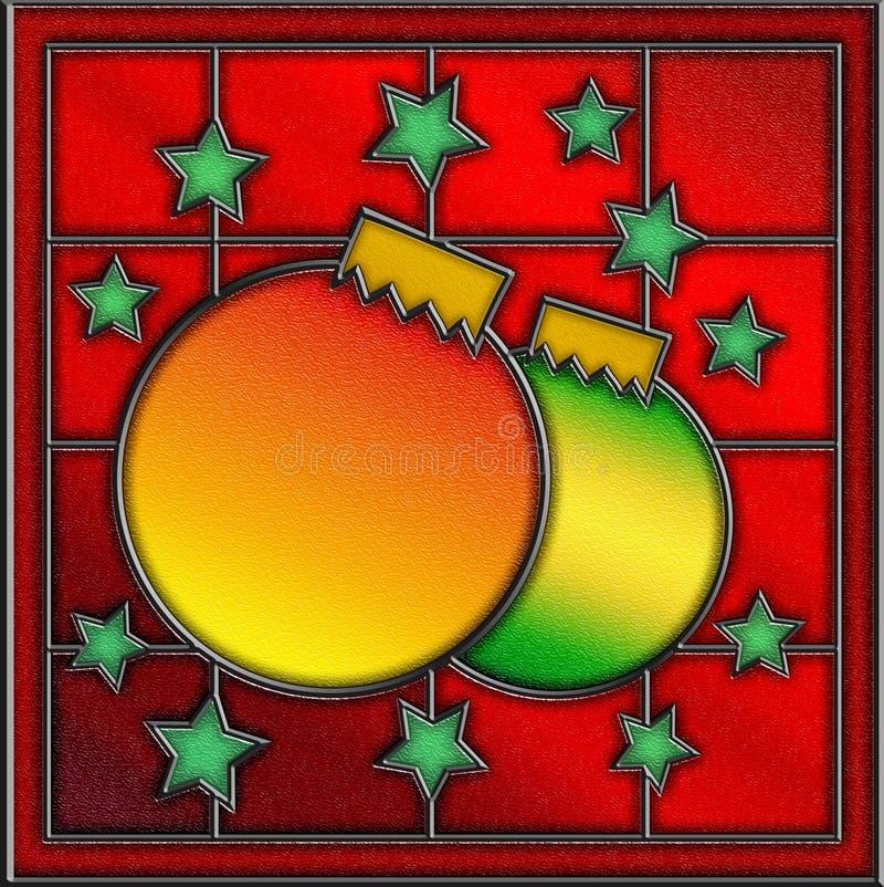 Panneau de fenêtre de Noël en verre souillé illustration de vecteur