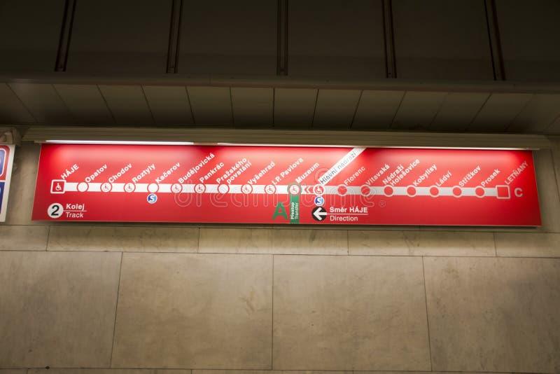 Panneau de guide d'information pour des passagers de personnes regardant la gare ferroviaire de canalisation de Prague image stock
