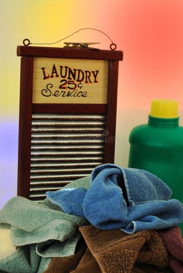 Panneau de lavage et blanchisserie modifiée image stock