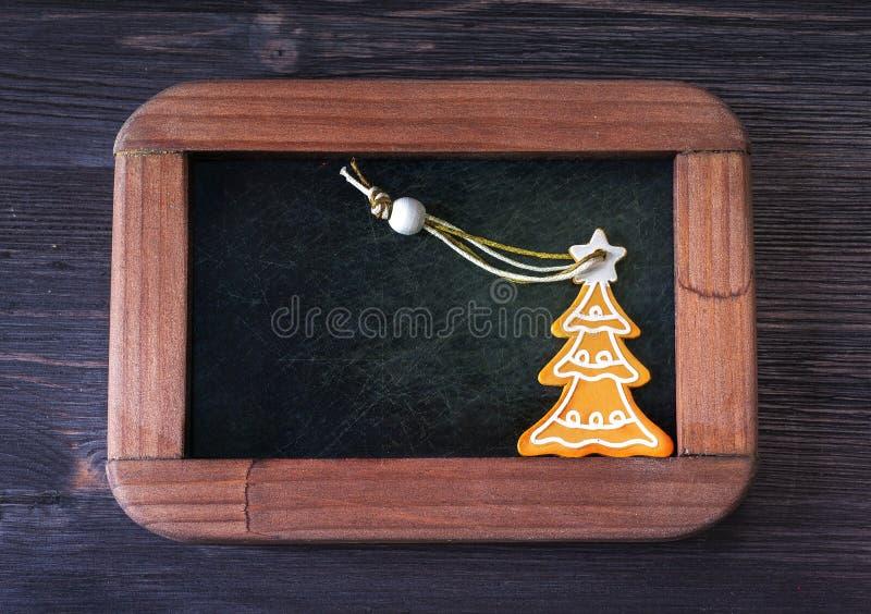 Panneau de menu et décoration de Noël photo stock
