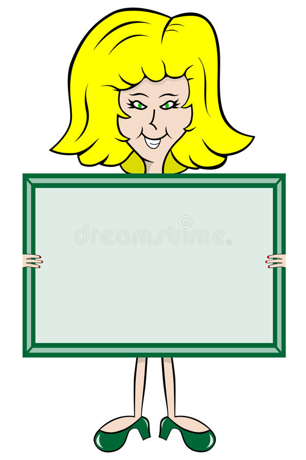 Panneau de message de fixation de dame de dessin animé illustration de vecteur