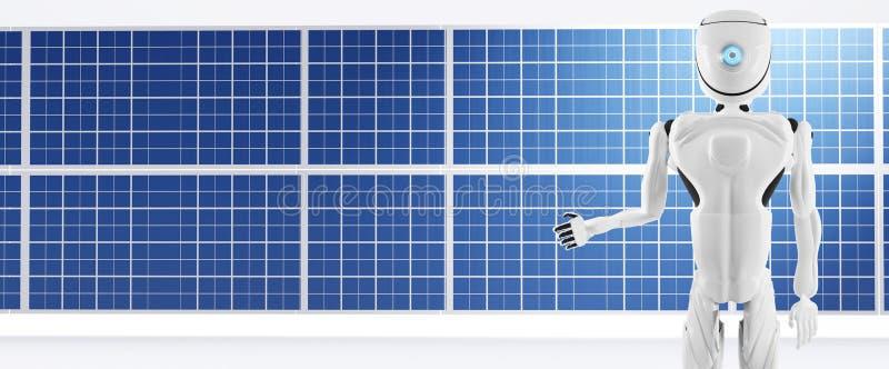 Panneau de module solaire et robot d'intelligence artificielle 3d illustration blanche illustration libre de droits