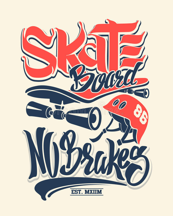 Panneau de patin aucun freins, graphiques de T-shirt, vecteurs illustration libre de droits