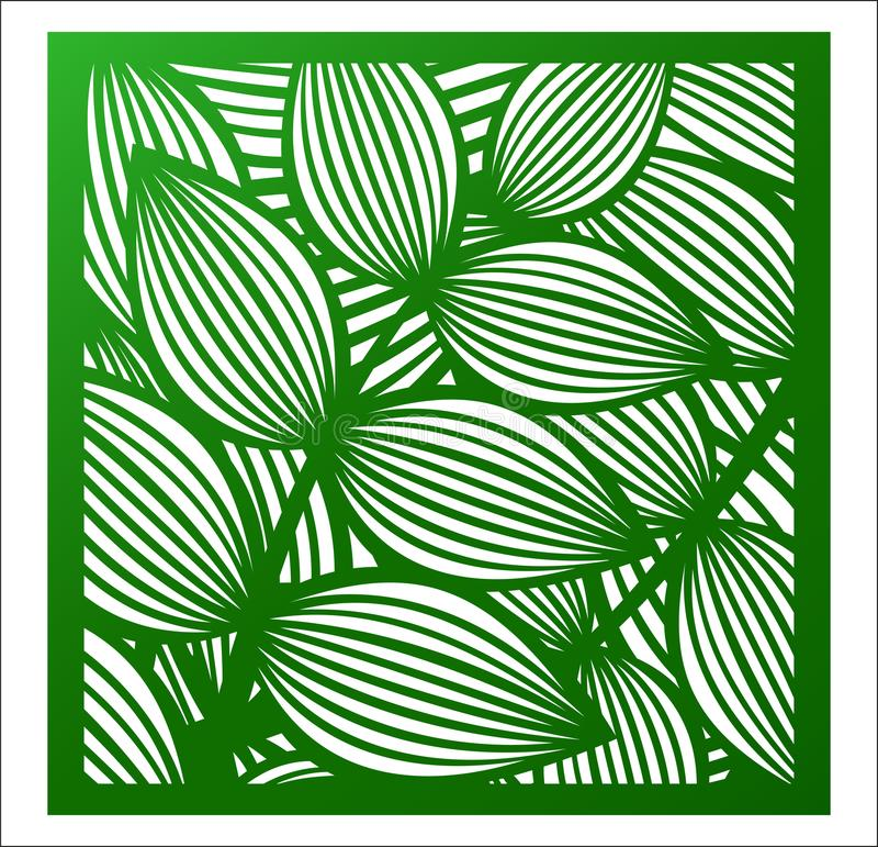 Panneau de place de coupe de laser Modèle floral à jour avec le tropica illustration de vecteur