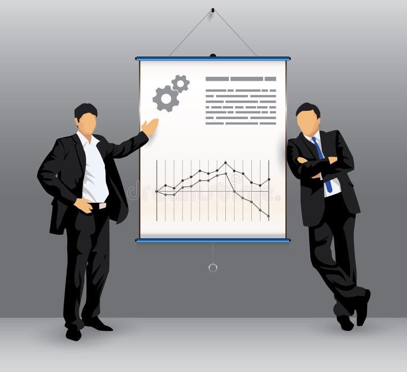 Panneau de présentation d'affaires avec le gens d'affaires illustration libre de droits