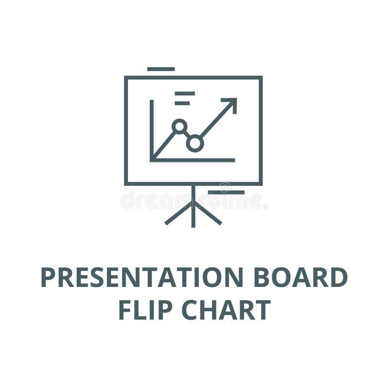 Panneau de présentation, ligne icône, concept linéaire, signe d'ensemble, symbole de vecteur de tableau de conférence illustration de vecteur