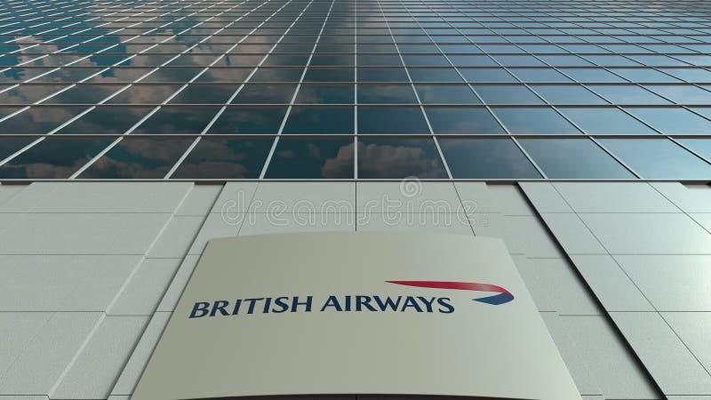 Panneau de Signage avec le logo de British Airways Façade moderne d'immeuble de bureaux Rendu 3D éditorial illustration libre de droits