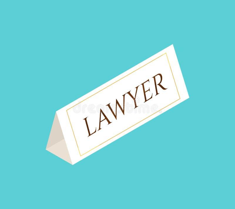 Panneau de signe avec l'avocat des textes illustration stock